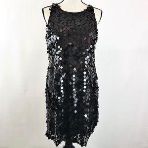 WHBM Black Sequin Sleeveless Shift Dress